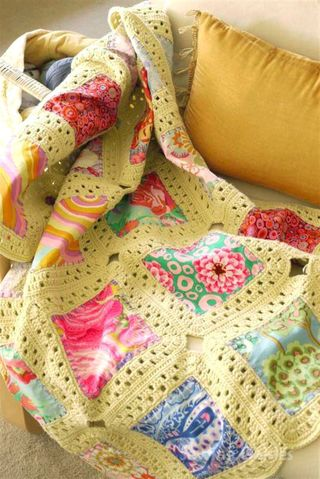 Sewing Daisies, Kaffe Fusion Crochet & Fabric Blanket