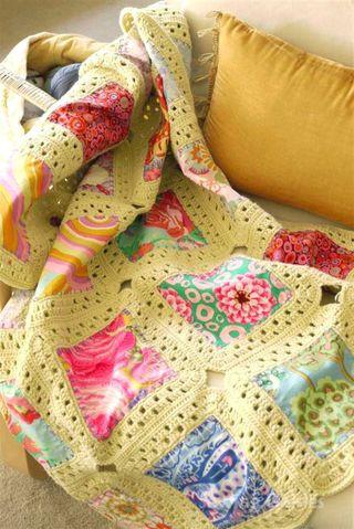 Sewing Daisies, Kaffe Fusion Crochet & Fabric Blanket