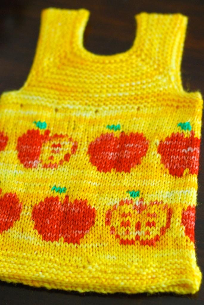 Apple Fair Isle Baby Vest, on a Georgie Hallam's Milo
